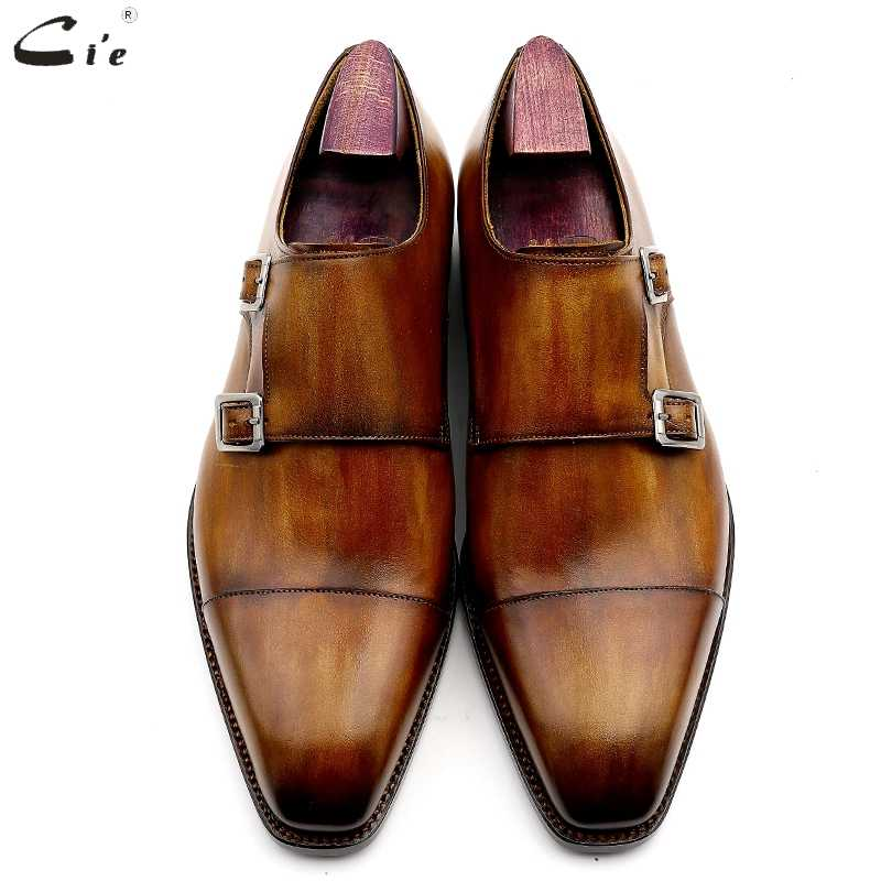 Cie พระภิกษุสงฆ์รองเท้า patina สีน้ำตาลรองเท้าหนังลูกวัวแท้พื้นรองเท้าผู้ชายชุดอย่างเป็นทางการหนังรองเท้าทำด้วยมือเบอร์ 3