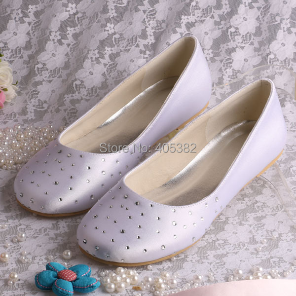 7b722587a09 Wedopus MW080 Extra Wide Width Shoes White Women Bridal Satin Ballet Flats  with Rhinestones