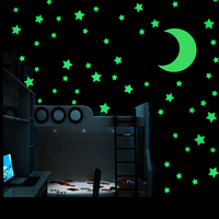GA18 60pcs Luminous Stars And One Moon Fluorescent Wall Stickers Art Decal Glow In The Dark