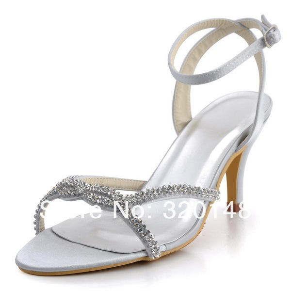 Expédition rapide sandales EP2056 argent bout ouvert Satin strass 3