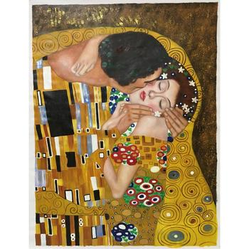Wall art gold paintings gustav klimt the kiss reproduction Portrait oil on canvas romantic love picture for room hand painted