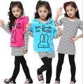 V-TREE NOVA moda 3 pçs/set meninas conjuntos de roupa de veludo casaco e vestido de algodão legging roupa dos miúdos define meninas conjuntos de roupas