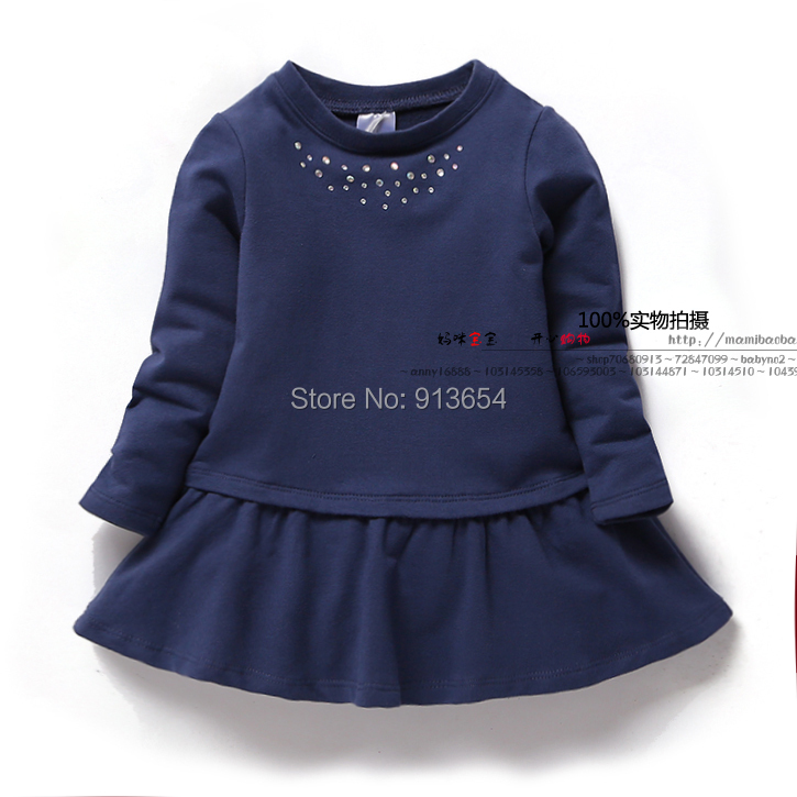 New 2015 spring autumn girls dress baby clothing children dresses kids long sleeved Casual dress female child vestidos girls dress winter 2016 new children clothing girls long sleeved dress 2 piece knitted dress kids tutu dress for girls costumes