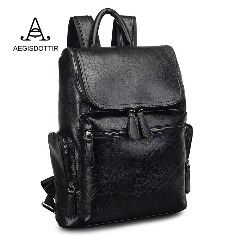 High Quality Large Capacity PU Leather Waterproof Backpack for Man Casual Daypacks Business Laptop Bagpack College Mochila Male large capacity casual man backpack