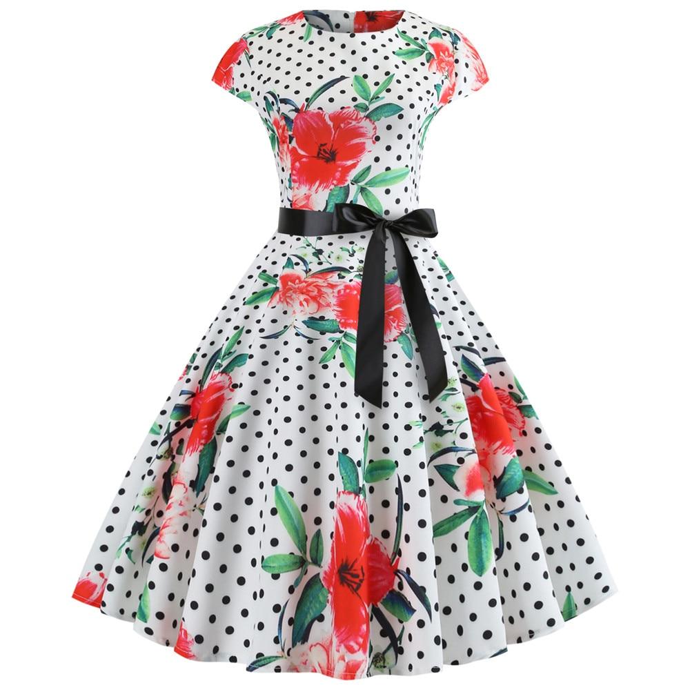 Женское летнее платье с цветочным принтом, винтажное платье с коротким рукавом и круглым вырезом, женские сарафаны, вечерние платья с принт...