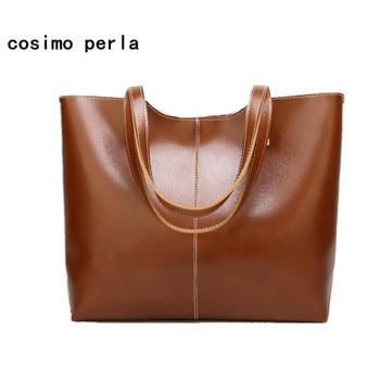 Oil Wax PU Leather Women Shoulder Bags Solid Color Causal Large Capacity Tote Handbags European Fashion Work Business Simple SAC grande bolsas femininas de couro