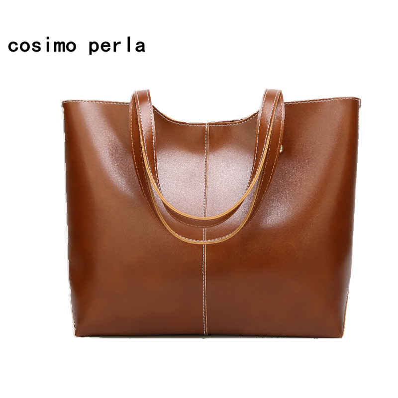 Oil Wax PU Leather Women Shoulder Bags Solid Color Causal Large Capacity Tote Handbags European Fashion Work Business Simple SAC