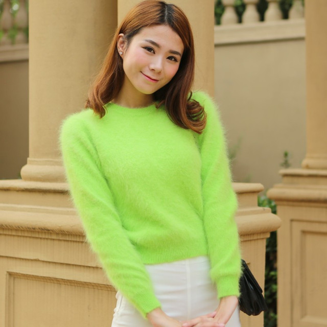 2020 Women Sweaters and pullovers Pure Mink Cashmere Knitted Pullover ladies sweater  Free Shipping TBWA645 4