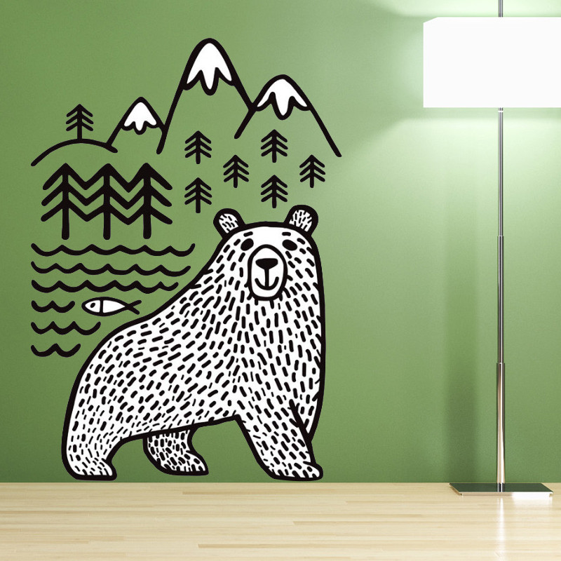 Pvc extraíble oso sierra pescado pegatinas de pared 56x80 cm casa dormitorio pla