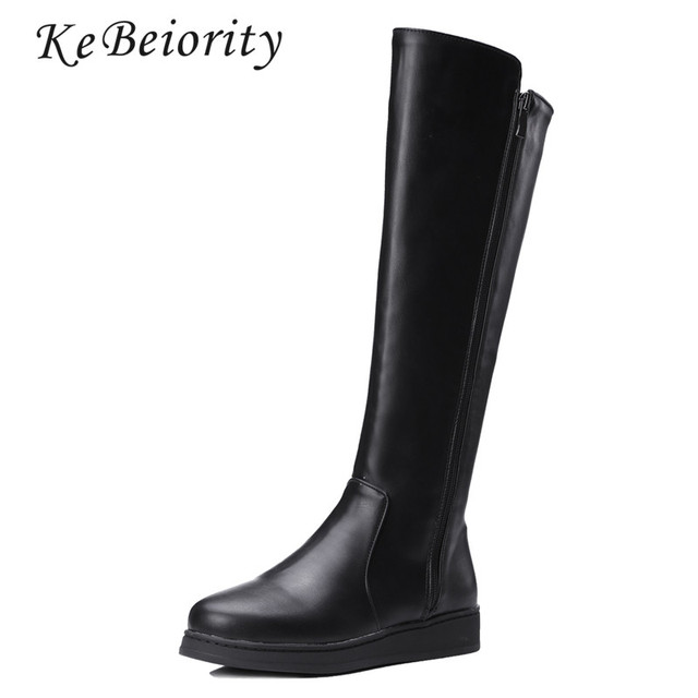 6cad918ec760 KEBEIORITY Women Leather Boots Spring Autumn Knee High Boots Shoes Flat  Black Boots Leather Women Fashion Tall Boots Snow 2019