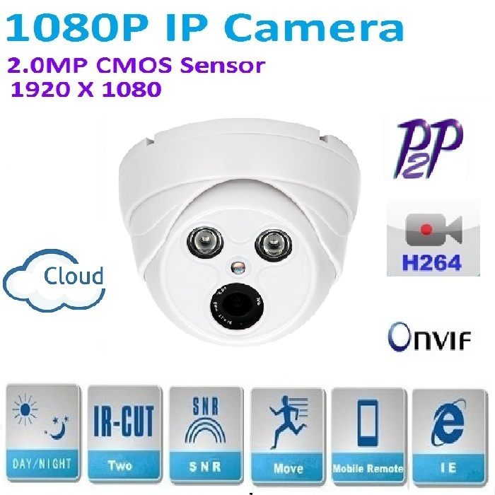 H.264 2MP Security 1080P IP Camera CCTVHD 1920*1080 Indoor dome network camera,Support IR-CUT Filter,Onvif,P2P,plug and play h 264 mini dome ip camera 1080p hd security indoor cctv camera 2mp 1920 1080 ir cut onvif p2p support phone android ios view