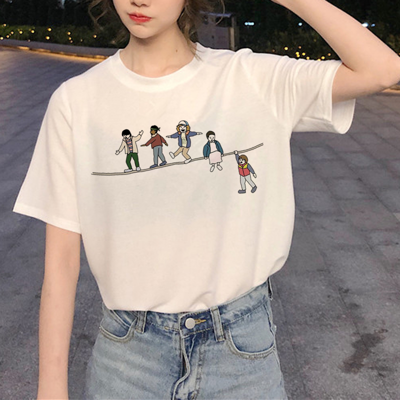 New Stranger Things 3 Harajuku   T     Shirt   Women Upside Down Ullzang Print   T  -  shirt   90s Graphic Tshirt Fashion Eleven Top Tees Female