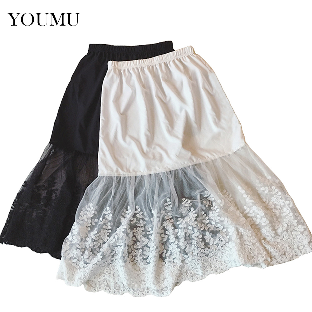 Women Lady Lace Slip Casual Skirt Knee Length Natural Waist A-Line Floral Underskirt Petticoat Fashion New White Black 904-733