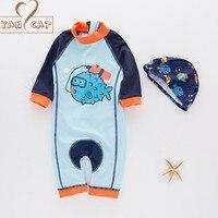 Nyan Cat летняя одежда для маленьких мальчиков рыбы купальники + шляпа 2 шт. комплект купальный костюм младенческой малыша Дети Купальники Дайв