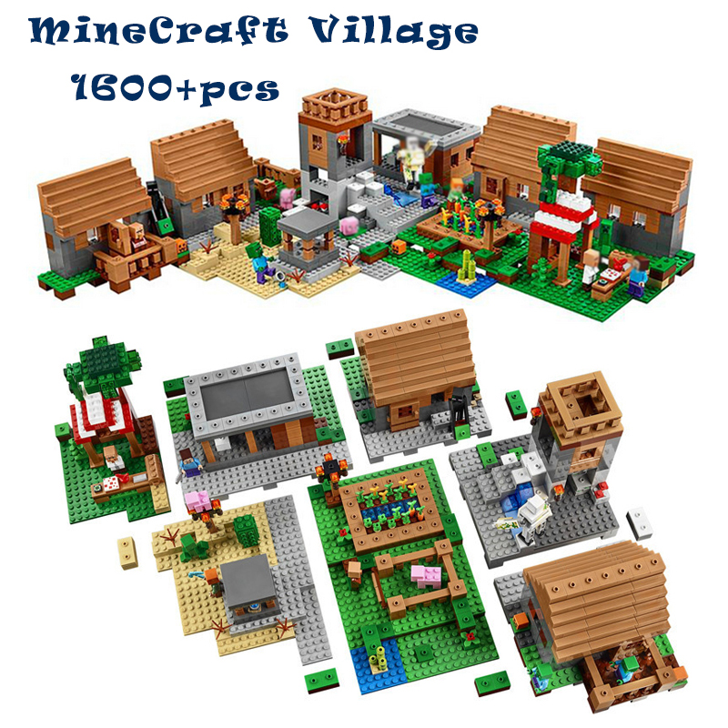 1600+pcs Model building toys hobbies compatible with lego my worlds MineCraft Village blocks bricks Educational for children 18003 model building kits compatible my worlds minecraft the jungle 116 tree house model building toys hobbies for children