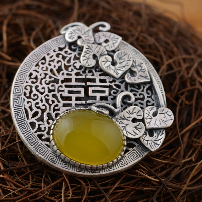 [silver] silver deer king S990 wholesale sterling silver pendant antique style female chalcedony Pendant NEW[silver] silver deer king S990 wholesale sterling silver pendant antique style female chalcedony Pendant NEW