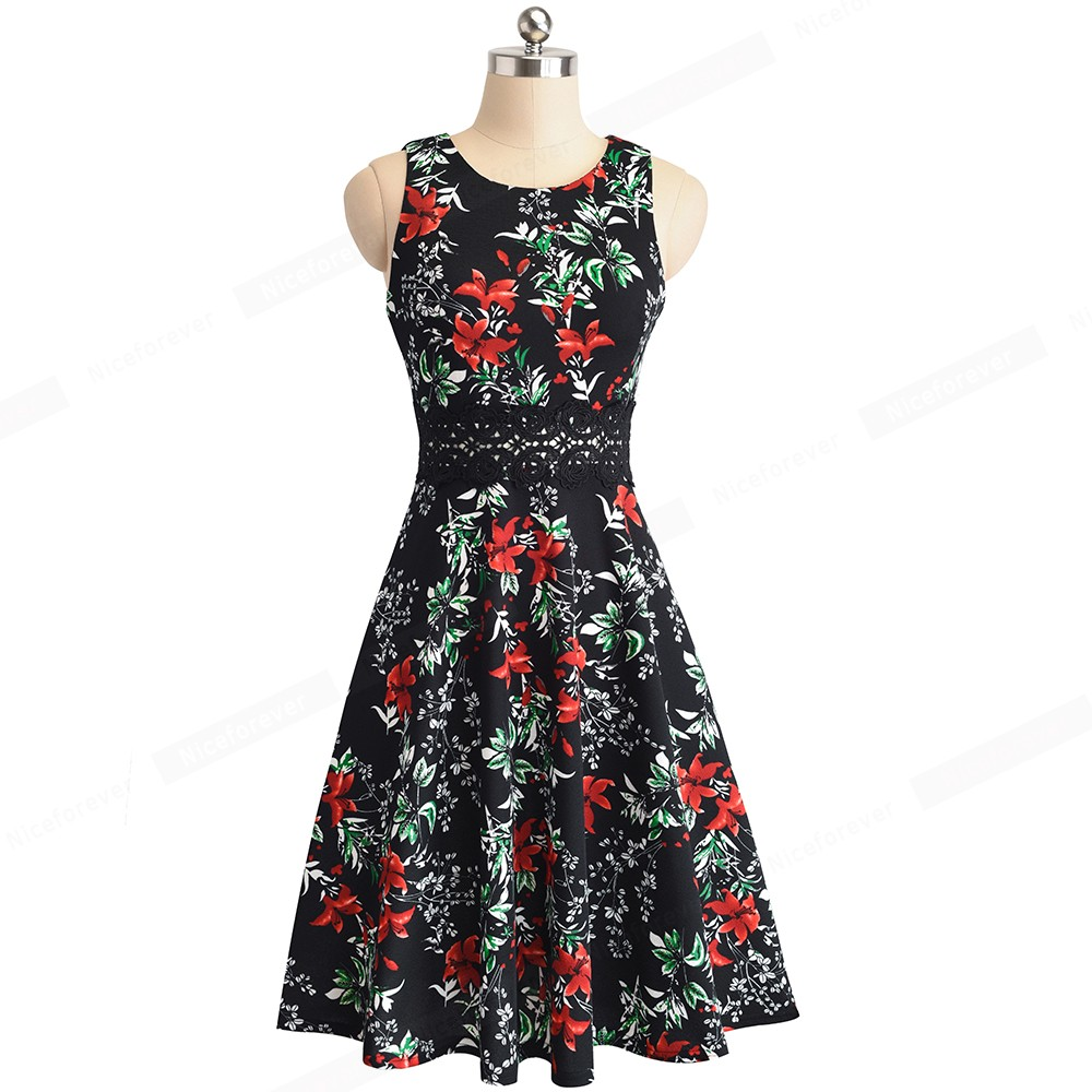 Nice-forever Vintage Elegant Embroidery Floral Lace Patchwork vestidos A-Line Pinup Business Women Party Flare Swing Dress A079 59