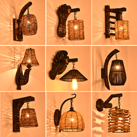 Antique Bamboo Wall Lamp Bedroom Bedside Lamp Creative Lamp