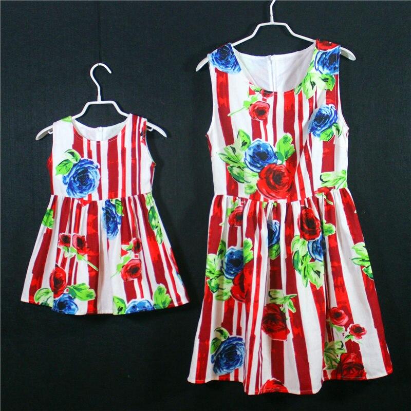 ФОТО Summer brand Cotton linen A-line girls holiday beach dress kids sleeveless skirts mother and daughter Sleeveless jumper dresses
