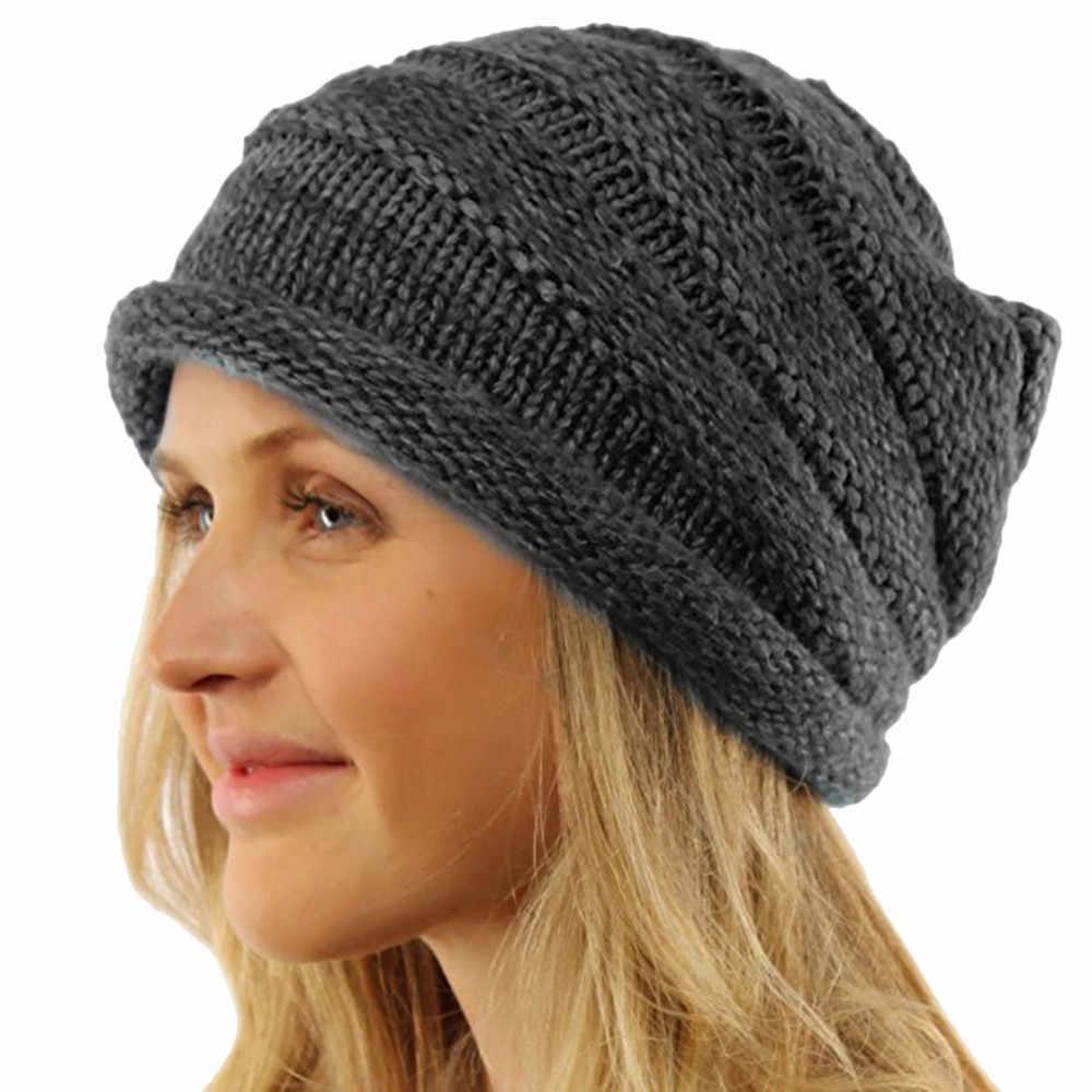 9f60d113a16ea Winter Brand Female Hats Men Women Baggy Warm Crochet Winter Wool Knit Ski  Beanie Skull Slouchy