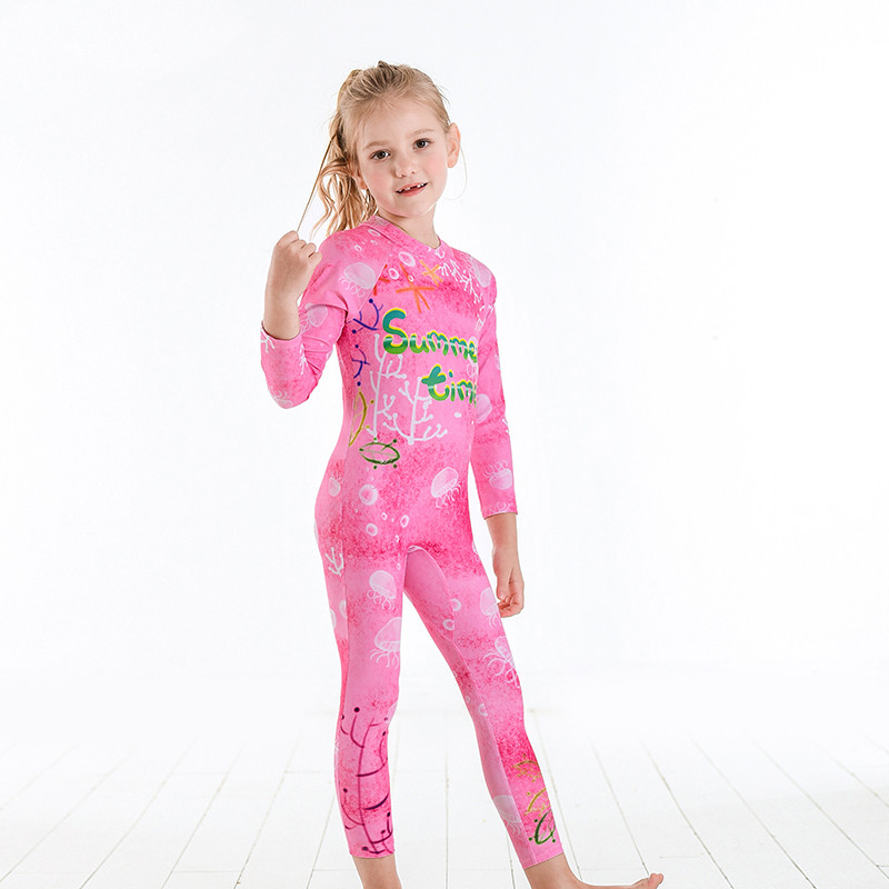 3-12 Years New Children Swimwear 2019 Girls Toddler Swimsuits Kids One Piece Long Sleeve Rash Guards Sun Protection Swim Suits