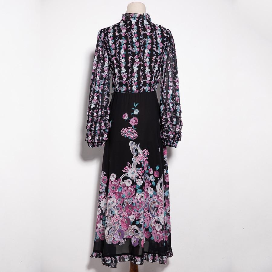 Street Élégant Du Fsahion Robes Seqinyy Début Longues À Mince Manches Nouveau Fleurs Mi Printemps 2018 High Imprimé Au mollet Asymétrique XZxBqaR