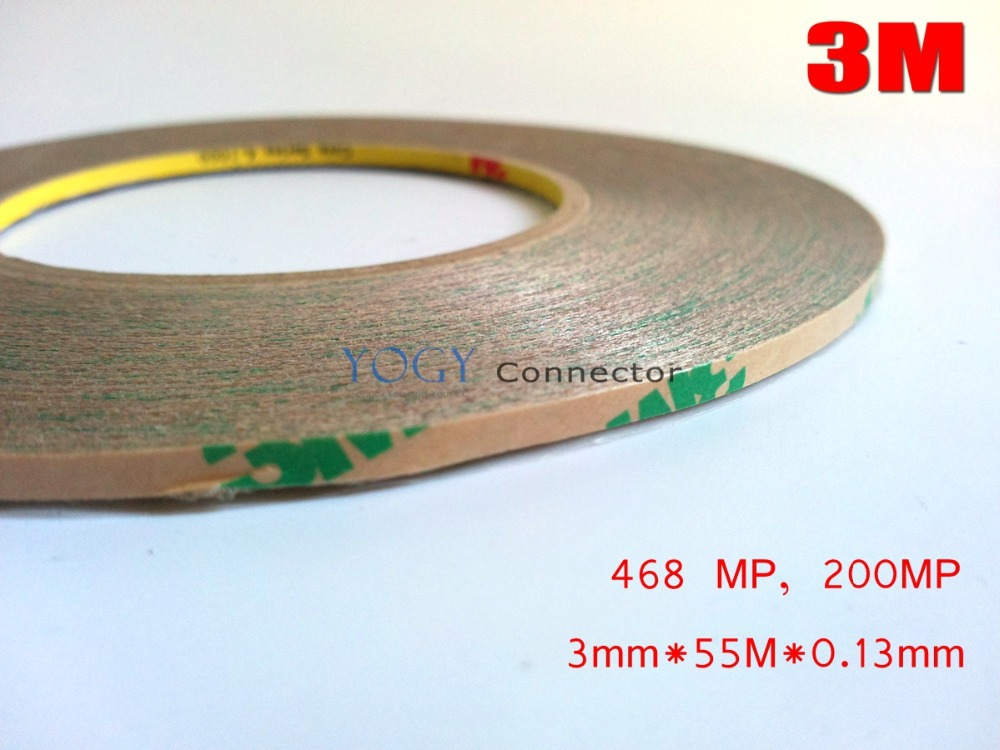 3M, 3mm*55 meters, 0.13mm Thickness, Double Sided Adhesive Tape, High Temperature Resistance Sticky, Clear 468MP, 200MP цена 2017