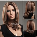 2014 Euorpean hot wigs with no bangs/ medium long blonde wigs for women/kanekalon synthetic wig free shipping