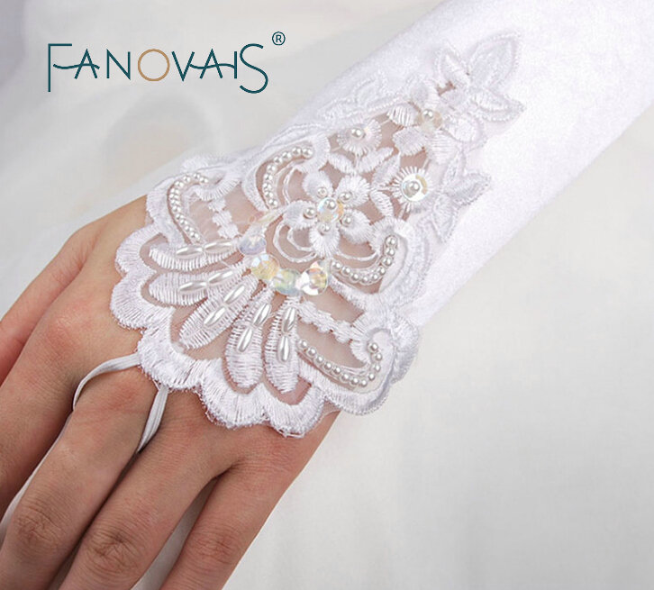 Elegant Elbow Length Wedding Gloves for Bride Guantes de Novia Wedding Accessories	lace gloves accessoire mariage