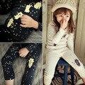 Novas Meninas Coreanas Início Mobiliário Terno Dot Conjunto Underwear Urso Dos Desenhos Animados Crianças Roupas de Algodão Grosso Quente