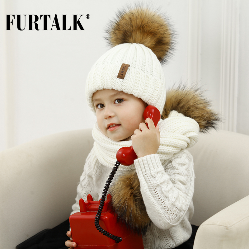 FURTALK Kids Ages 1-4 Winter Warm Chunky Thick Knit Beanie Hats And Scarves Real Fur Pom Pom Hat Scarf Set For Child