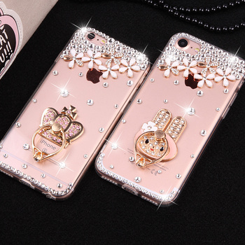 For Samsung Galaxy S9 Plus Note 8 Note 9 New Phone Back Cases Soft Protective Case Diamond Hello Kitty Ring Phone Holder Cover