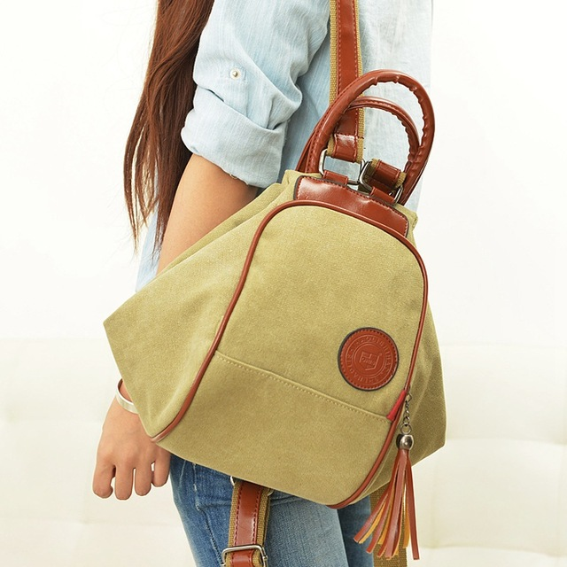 254d01151 2018 New Fashion Female Backpacks Women Canvas Shoulder Bags For Women  Diagonal Portable Multi-functional Backpack Bags Tassel