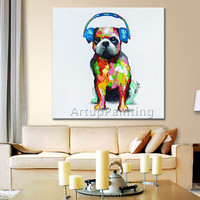 Dog painting ,Animal Pet Cute dog pop art modern abstract canvas hand paint Oil painting wall pictures for living room