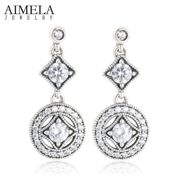 AIMELA Vendimia Allure AAA CZ Diamond Drop Pendientes 2016 Nueva Joyería de Moda Plata de Ley 925 Pendientes Largos Para Las Mujeres de La Boda