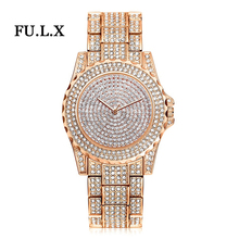 2018 New Arrival Luxurious Ladies Watches Rhinestone Crystal Wristwatch Woman Gown Watch Males's Luxurious Analog Quartz Watches Relogio