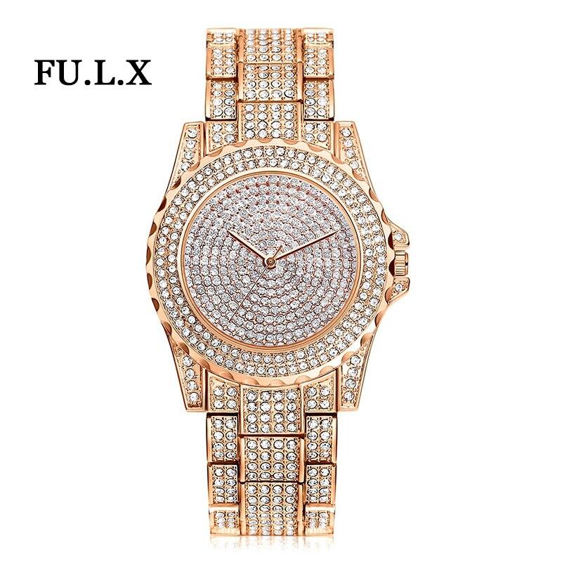 2018 New Arrival Luxury Women Watches Rhinestone Crystal Wristwatch Lady Dress Watch Men's Luxury Analog Quartz Watches Relogio