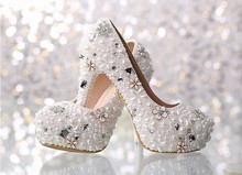 2016 Gorgeous And Fashion White High heel Bridal Shoes Full Grain LeatherCrystal Diamond Lady Shoe for Wedding Party  Shoes