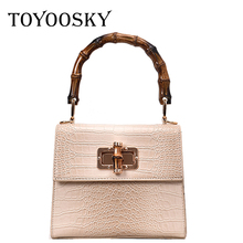 TOYOOSKY Luxury Crocodile Women Handbag Bamboo Handle Designer Crossbody Bag Casual Ladies Small Flap Purse Bolsas Femininas