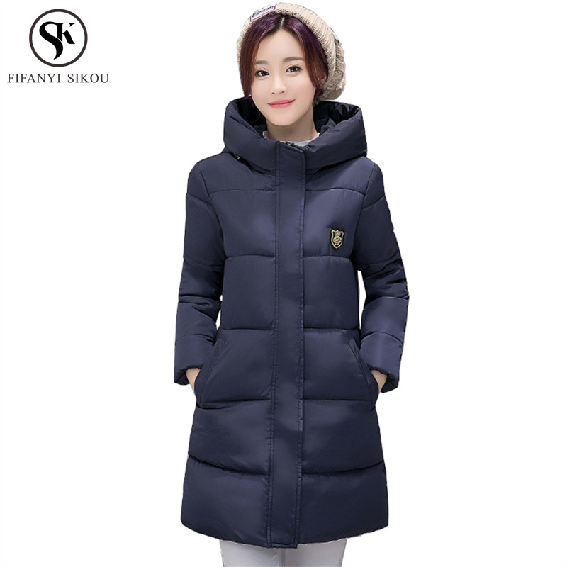 Winter Jacket Women Hooded Korean 9 Colors Long Cotton Coat Casual Thicken Candy Colors Outwear Wadded Jackets Warm Parka Lp279 Women's Clothing