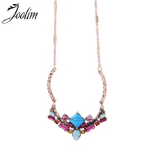 JOOLIM Vintage Turkey Blue Stone Pendant Necklace High Quality  Fashion Jewelry Wholesale