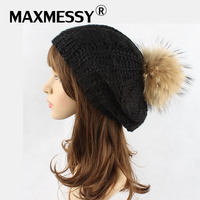 MAXMESSY Winter Women Raccoon Fur Pompoms Beret Hat For Women Knit Hat Handmade Cap Warm Boina