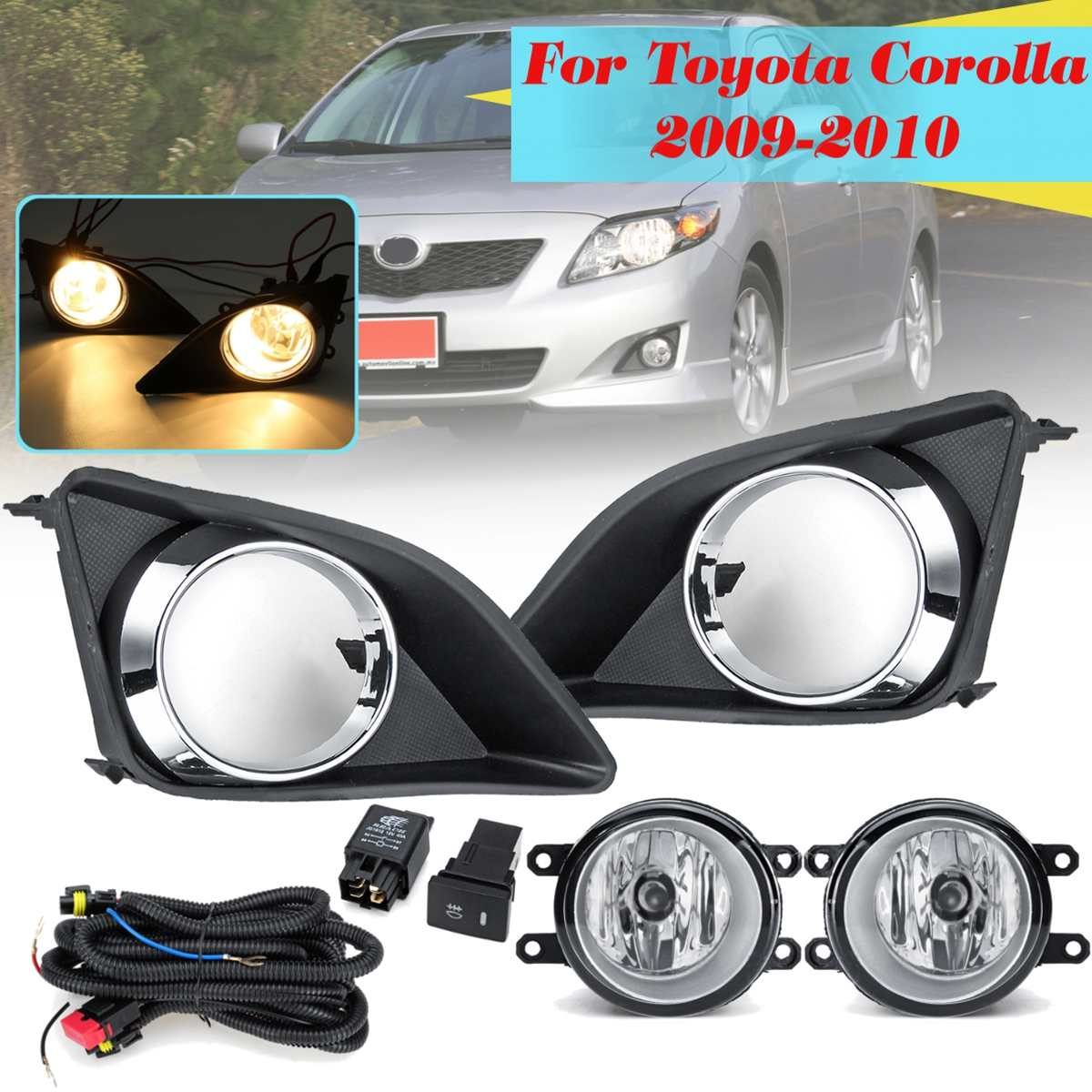 Car Fog light With Cover Switch For <font><b>Toyota</b></font> <font><b>Corolla</b></font> <font><b>2009</b></font> 2010 Foglight Front Lower Bumper Fog lamp Driving light drl <font><b>Accessorie</b></font> image