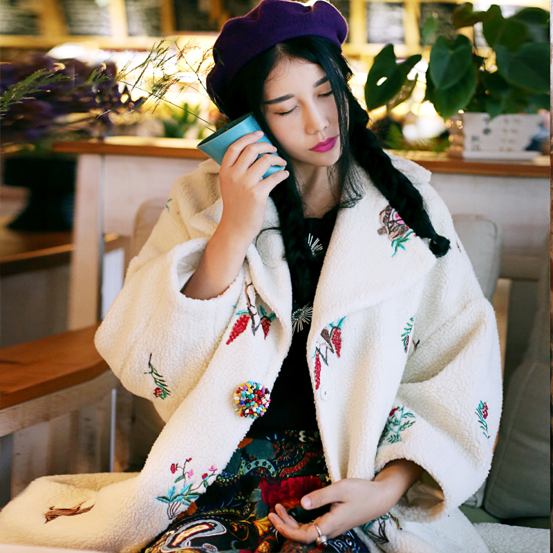 MX002 2016 thicken wool coat embroidered berber fleece long outerwear women oversize coat winter
