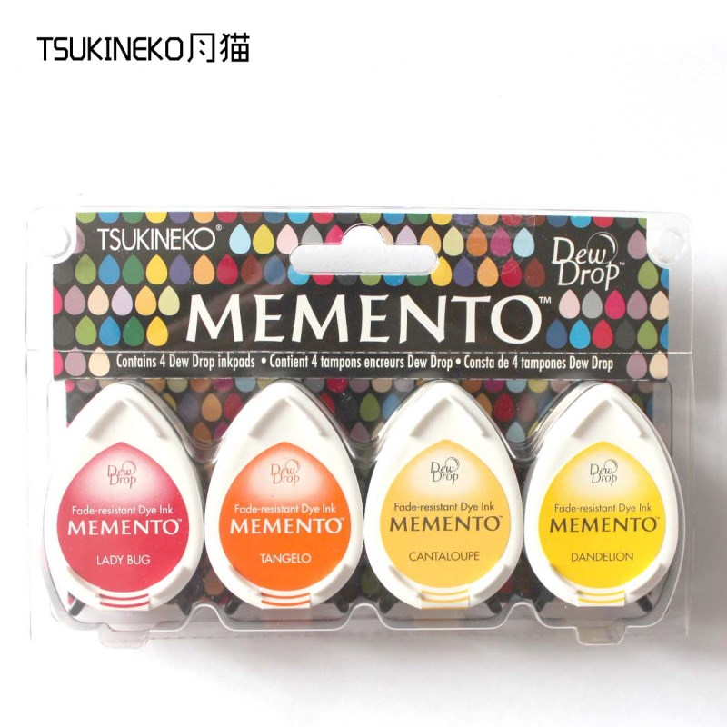 Image 4 - Tsukineko MEMENTO MD 4pcs water drop series of rubber stamp pad for paper craft free shipping-in Stamps from Home & Garden