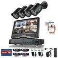 """Sannce 10.1 """"LCD 4CH 720 P DVR NVR HVR 3 EM 1 Rede CCTV Câmeras de Vigilância de Vídeo Com 4 PCS 1.0MP 720 P CCTV sistema"""