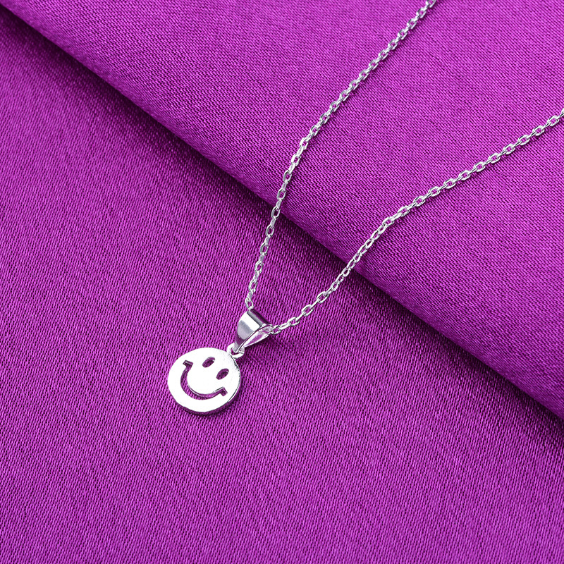 Cute smile pendant necklaces for women Sweet smile expression sterling silver pendant necklace sunny smile necklace women