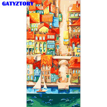 GATYZTORY Frame Abstract City DIY Painting By Numbers Famous Picture Canvas Painting Hand Painted Large Size For Home Decor(China)