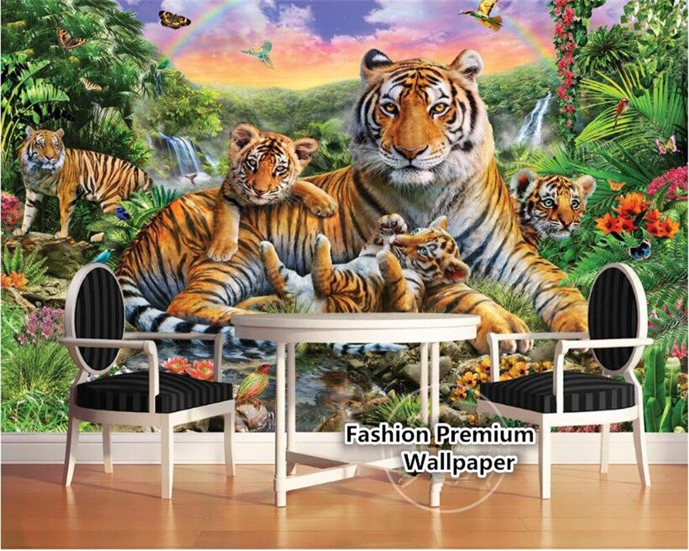 beibehang Custom silk cloth wall paper tropical rain forest animals tiger plants forest waterfall butterfly murals 3d wallpaper Обои