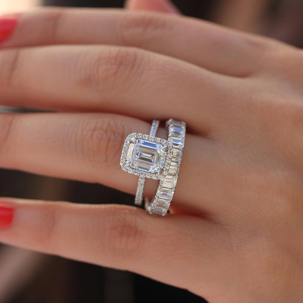 Solid 14 К белого золота Изумрудный DF Блестящий 8.5ctw Муассанит багет Halo обручение кольцо для женщин ювелирные украшения 2 шт
